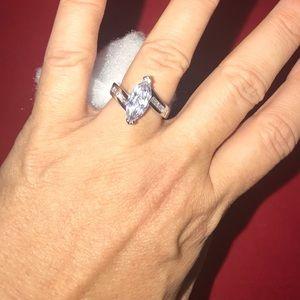 Wht gold plt 5ct CZ marquis diamond baguettes ring